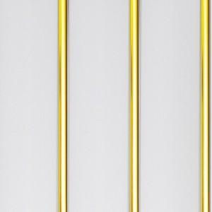 Панель ПВХ Белая лакированная 3 секции, Золото 3000*240*8мм