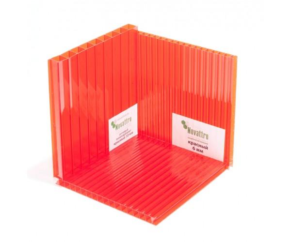 Поликарбонат 2100х6000х10мм (красный) Новаттро