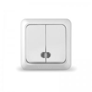 Выключатель двухклавишный с индикатором наружный Олимп, белый Universal О0123