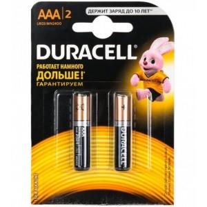 Батарейка ААА мизинчиковая LR03, DURACELL, упаковка 2шт.