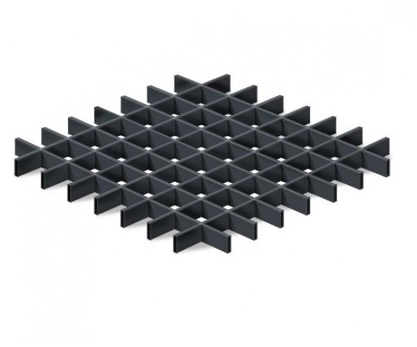 Грильято в сборе 120*120мм, алюминий Черный матовый Эконом