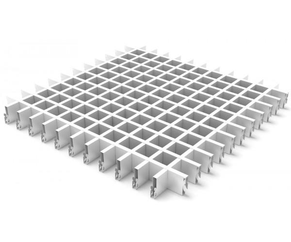 Грильято в сборе 100*100мм, алюминий Белый матовый Стандарт