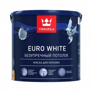 Краска для потолка Euro White База А глубокоматовая 2,7л Тиккурила