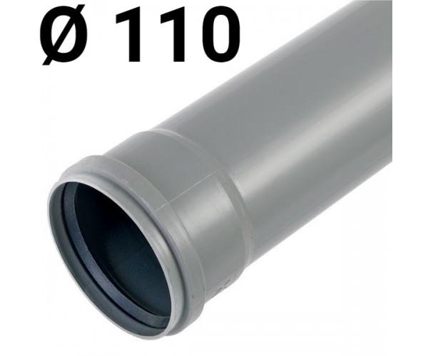 Труба канализационная пластиковая 110х250мм, с раструбом