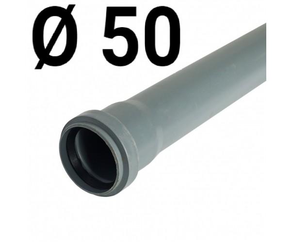 Труба канализационная пластиковая 50х1000мм, с раструбом