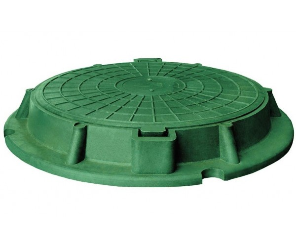 Люк садовый песчано-полимерный, зеленый, 1,5т