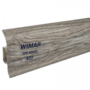 Плинтус с мягким краем и кабель-каналом (58 мм) Дуб альба 822 2,5м. Wimar