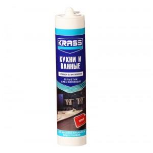 Герметик силиконовый для Кухни и Ванной белый картридж KRASS, 300мл