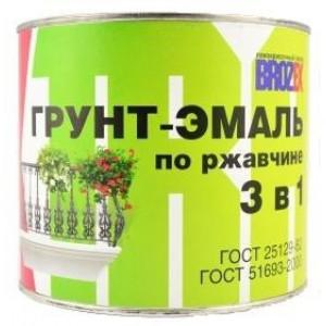 Грунт-эмаль по ржавчине 3 в 1 черная BROZEX, 2,5кг