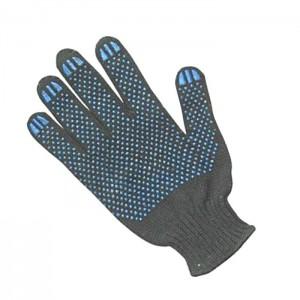 Перчатки х/б трикотажные с ПВХ 6-ти нитка (Серые)