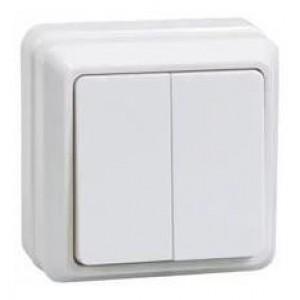Выключатель двухклавишный наружный белый IEK